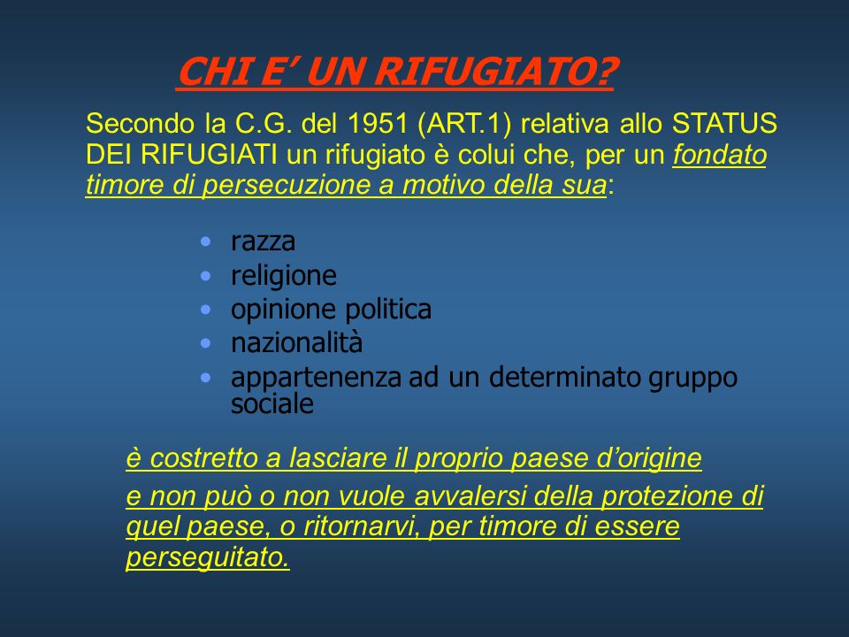 STATUS E PROTEZIONE DEI RIFUGIATI Diritto Internazionale Umanitario