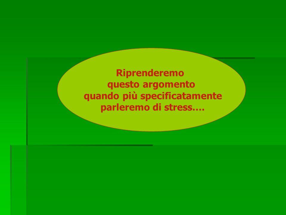 Riprenderemo questo argomento quando più specificatamente parleremo di stress….