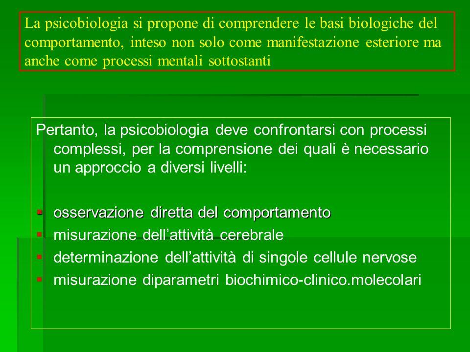 La psicobiologia si propone di comprendere le basi biologiche del comportamento, inteso non solo come manifestazione esteriore ma anche come processi