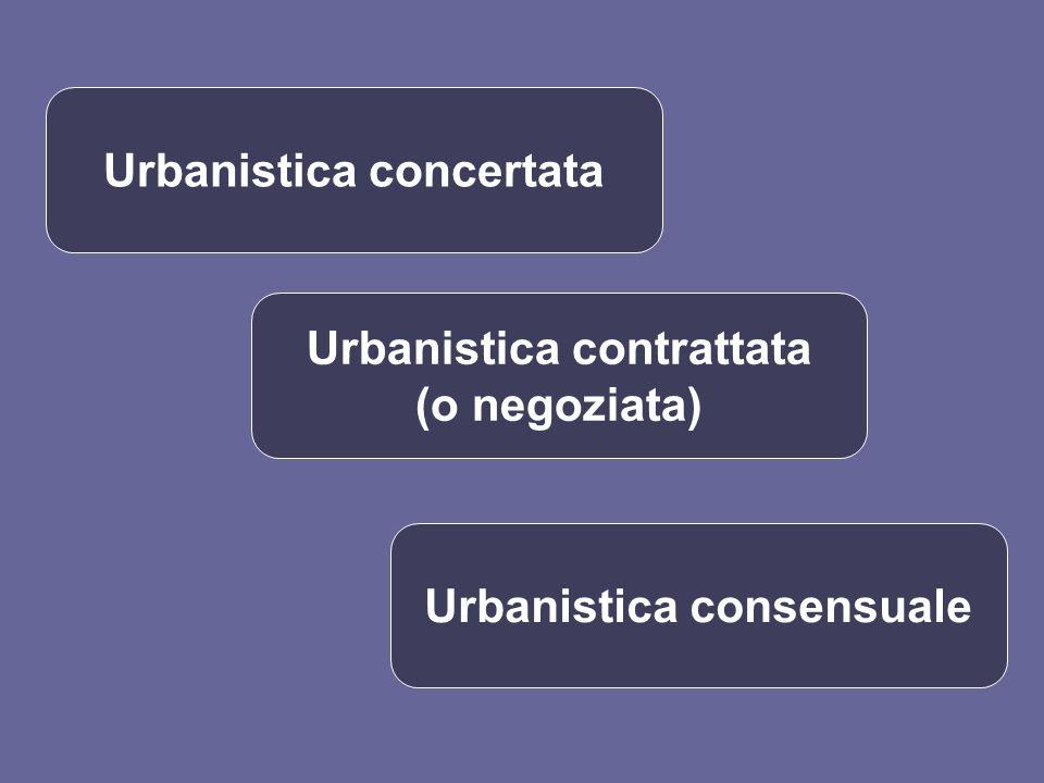 Urbanistica concertata Urbanistica contrattata (o negoziata) Urbanistica consensuale