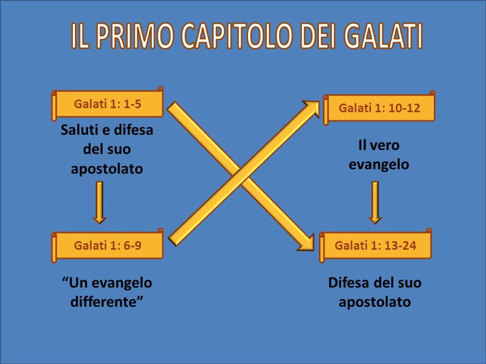 Galati 1: 1-5 Galati 1: 6-9 Galati 1: 10-12 Galati 1: 13-24 Saluti e difesa del suo apostolato Un evangelo differente Il vero evangelo Difesa del suo