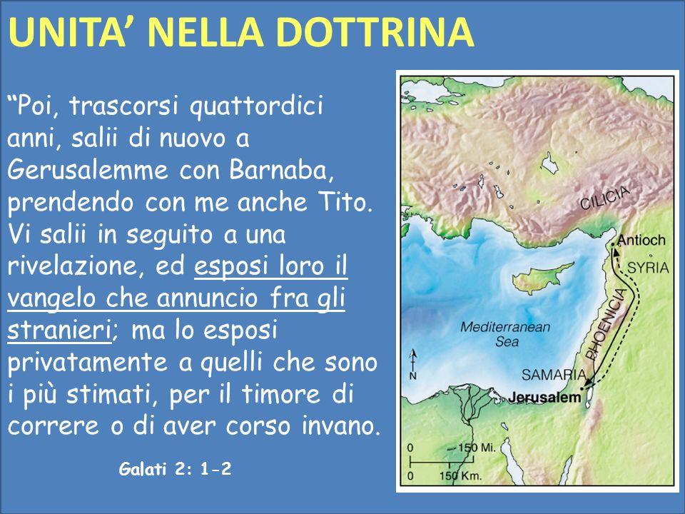 Poi, trascorsi quattordici anni, salii di nuovo a Gerusalemme con Barnaba, prendendo con me anche Tito. Vi salii in seguito a una rivelazione, ed espo