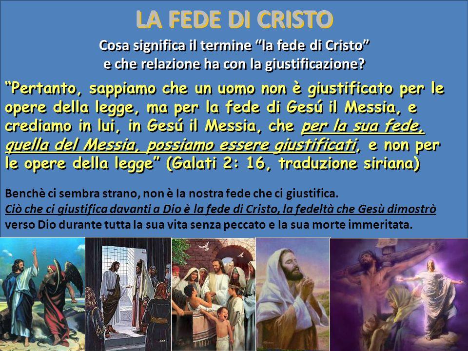 Pertanto, sappiamo che un uomo non è giustificato per le opere della legge, ma per la fede di Gesú il Messia, e crediamo in lui, in Gesú il Messia, ch