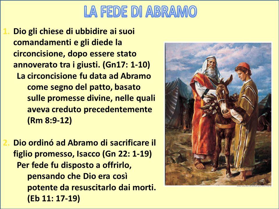 1.Dio gli chiese di ubbidire ai suoi comandamenti e gli diede la circoncisione, dopo essere stato annoverato tra i giusti. (Gn17: 1-10) La circoncisio