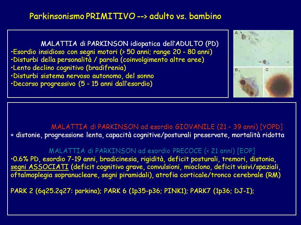 Parkinsonismo PRIMITIVO --> adulto vs. bambino MALATTIA di PARKINSON idiopatica dellADULTO (PD) Esordio insidioso con segni motori (> 50 anni; range 2
