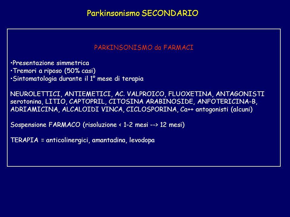 Parkinsonismo SECONDARIO PARKINSONISMO da FARMACI Presentazione simmetrica Tremori a riposo (50% casi) Sintomatologia durante il 1° mese di terapia NEUROLETTICI, ANTIEMETICI, AC.