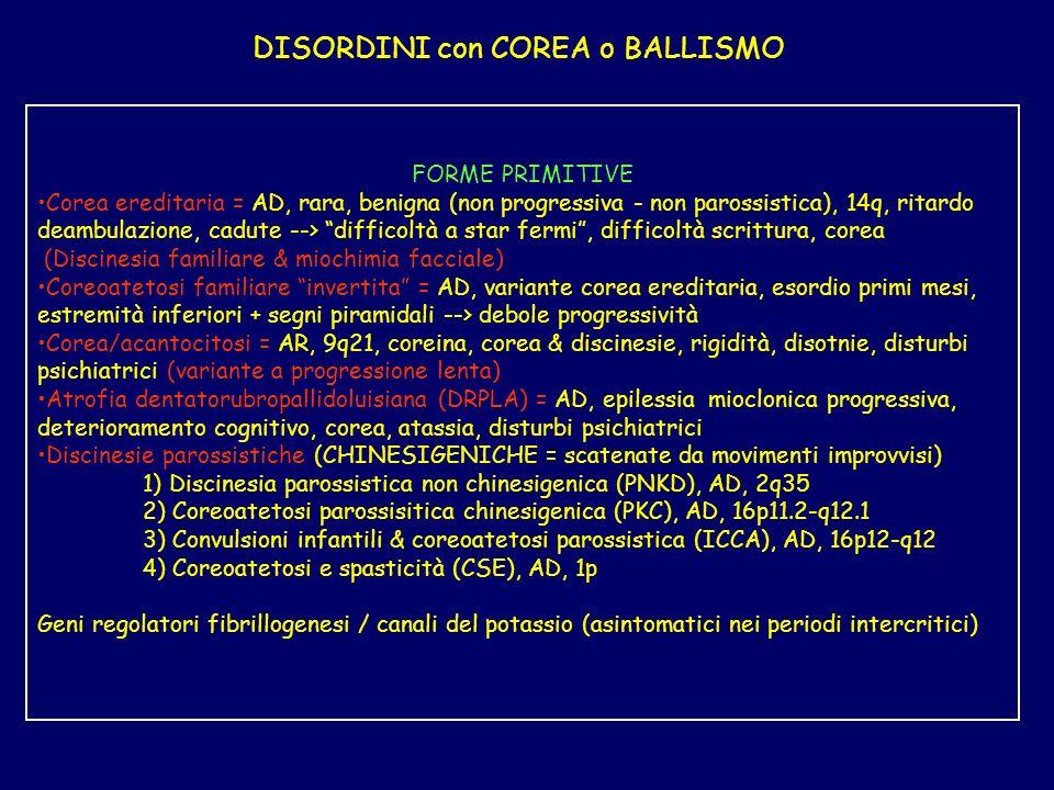 DISORDINI con COREA o BALLISMO FORME PRIMITIVE Corea ereditaria = AD, rara, benigna (non progressiva - non parossistica), 14q, ritardo deambulazione,