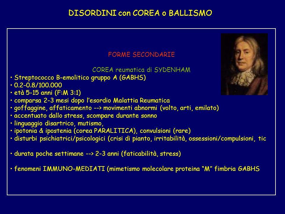 DISORDINI con COREA o BALLISMO FORME SECONDARIE COREA reumatica di SYDENHAM Streptococco B-emolitico gruppo A (GABHS) 0.2-0.8/100.000 età 5-15 anni (F:M 3:1) comparsa 2-3 mesi dopo lesordio Malattia Reumatica goffaggine, affaticamento --> movimenti abnormi (volto, arti, emilato) accentuato dallo stress, scompare durante sonno linguaggio disartrico, mutismo, ipotonia & ipostenia (corea PARALITICA), convulsioni (rare) disturbi psichiatrici/psicologici (crisi di pianto, irritabilità, ossessioni/compulsioni, tic durata poche settimane --> 2-3 anni (faticabilità, stress) fenomeni IMMUNO-MEDIATI (mimetismo molecolare proteina M fimbria GABHS