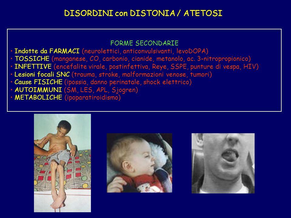 DISORDINI con DISTONIA / ATETOSI FORME SECONDARIE Indotte da FARMACI (neurolettici, anticonvulsivanti, levoDOPA) TOSSICHE (manganese, CO, carbonio, cianide, metanolo, ac.