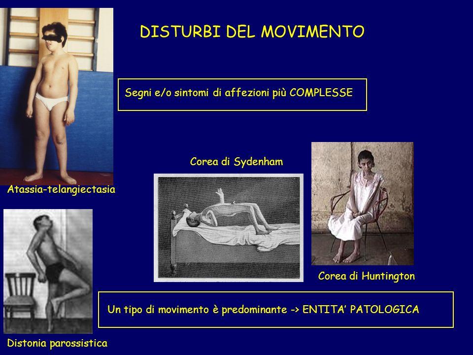DISTURBI DEL MOVIMENTO Atassia-telangiectasia Segni e/o sintomi di affezioni più COMPLESSE Un tipo di movimento è predominante -> ENTITA PATOLOGICA Corea di Huntington Corea di Sydenham Distonia parossistica
