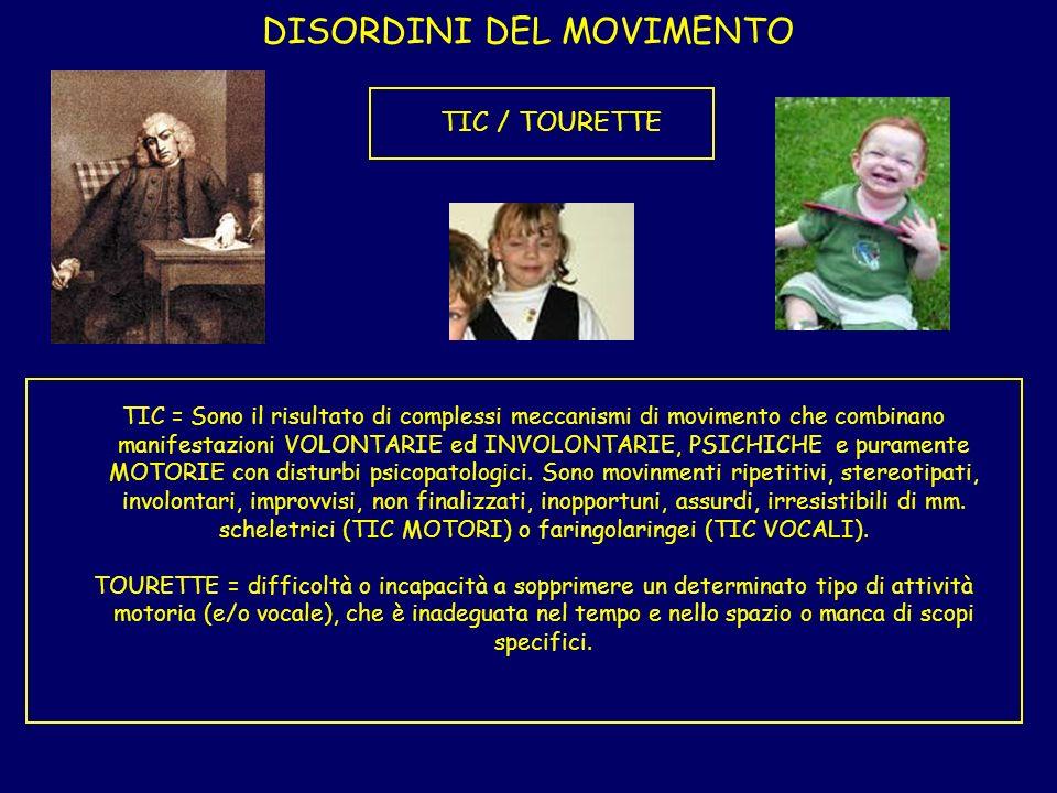 DISORDINI DEL MOVIMENTO TIC / TOURETTE TIC = Sono il risultato di complessi meccanismi di movimento che combinano manifestazioni VOLONTARIE ed INVOLON