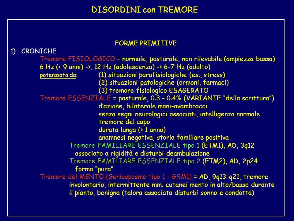 DISORDINI con TREMORE FORME PRIMITIVE 1) CRONICHE Tremore FISIOLOGICO = normale, posturale, non rilevabile (ampiezza bassa) 6 Hz (, 12 Hz (adolescenza) -> 6-7 Hz (adulto) potenziato da :(1) situazioni parafisiologiche (es., stress) (2) situazioni patologiche (ormoni, farmaci) (3) tremore fisiologico ESAGERATO Tremore ESSENZIALE = posturale, 0.3 - 0.4% (VARIANTE della scrittura) dazione, bilaterale mani-avambracci senza segni neurologici associati, intelligenza normale tremore del capo durata lunga (> 1 anno) anamnesi negativa, storia familiare positiva Tremore FAMILIARE ESSENZIALE tipo 1 (ETM1), AD, 3q12 associato a rigidità e disturbi deambulazione Tremore FAMILIARE ESSENZIALE tipo 2 (ETM2), AD, 2p24 forma pura Tremore del MENTO (Geniospasmo tipo 1 - GSM1) = AD, 9q13-q21, tremore involontario, intermittente mm.