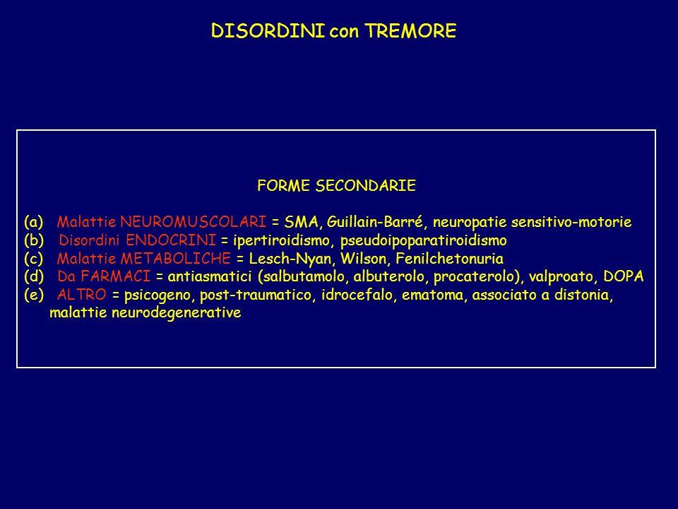 DISORDINI con TREMORE FORME SECONDARIE (a) Malattie NEUROMUSCOLARI = SMA, Guillain-Barré, neuropatie sensitivo-motorie (b) Disordini ENDOCRINI = ipertiroidismo, pseudoipoparatiroidismo (c) Malattie METABOLICHE = Lesch-Nyan, Wilson, Fenilchetonuria (d) Da FARMACI = antiasmatici (salbutamolo, albuterolo, procaterolo), valproato, DOPA (e) ALTRO = psicogeno, post-traumatico, idrocefalo, ematoma, associato a distonia, malattie neurodegenerative