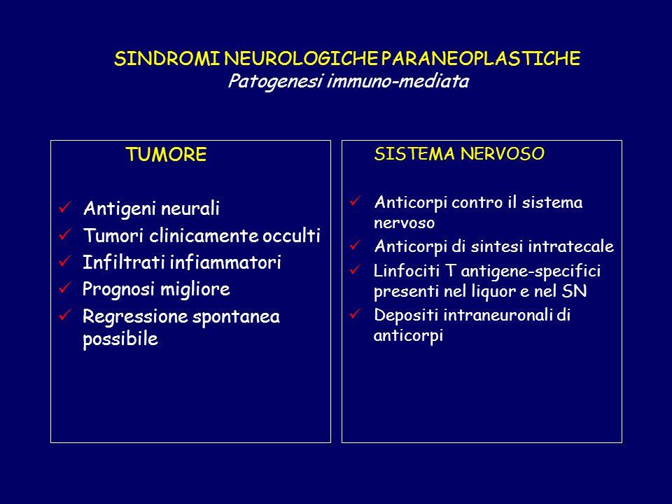 SINDROMI NEUROLOGICHE PARANEOPLASTICHE Patogenesi immuno-mediata TUMORE Antigeni neurali Tumori clinicamente occulti Infiltrati infiammatori Prognosi migliore Regressione spontanea possibile SISTEMA NERVOSO Anticorpi contro il sistema nervoso Anticorpi di sintesi intratecale Linfociti T antigene-specifici presenti nel liquor e nel SN Depositi intraneuronali di anticorpi