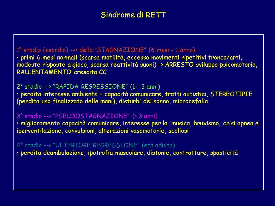 Sindrome di RETT 1° stadio (esordio) --> della STAGNAZIONE (6 mesi - 1 anno) primi 6 mesi normali (scarsa motilità, eccesso movimenti ripetitivi tronc