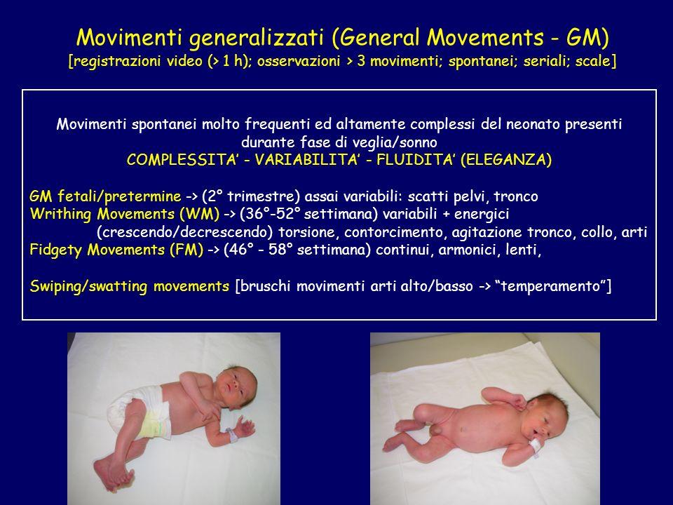 Movimenti generalizzati (General Movements - GM) [registrazioni video (> 1 h); osservazioni > 3 movimenti; spontanei; seriali; scale] Movimenti sponta