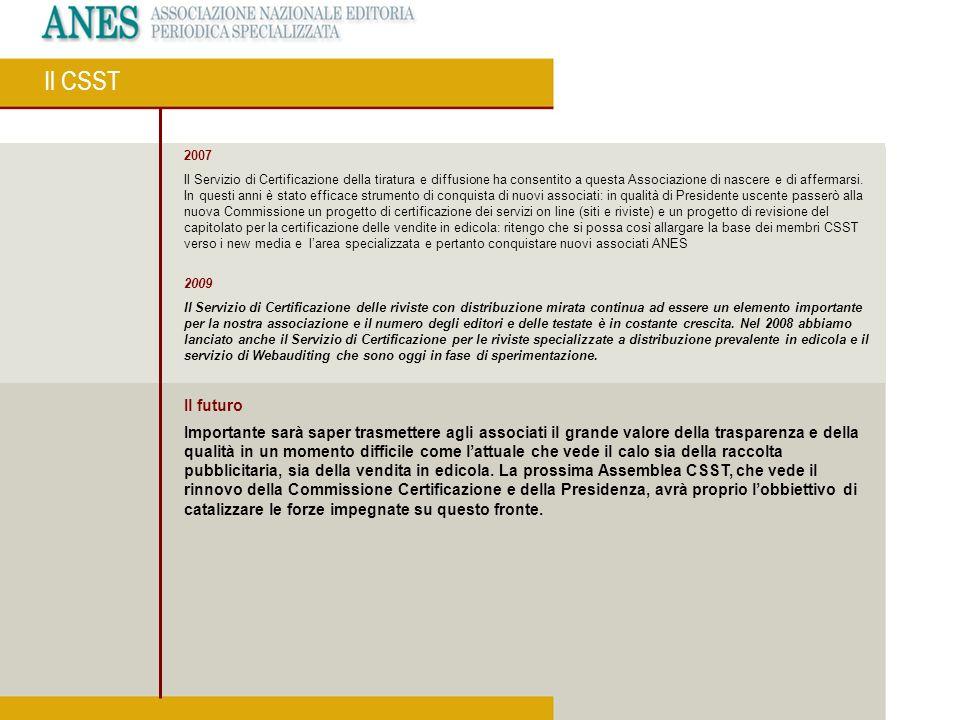 2007 Il Servizio di Certificazione della tiratura e diffusione ha consentito a questa Associazione di nascere e di affermarsi. In questi anni è stato