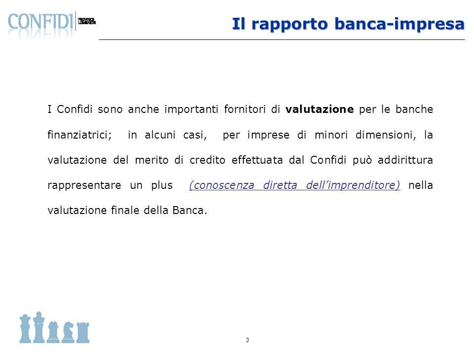 4 Per gli Istituti bancari i Confidi rappresentano uno strumento importante e funzionale che consente loro di accedere ad informative rilevanti sullo stato e sulle potenzialità dellimpresa da finanziare.