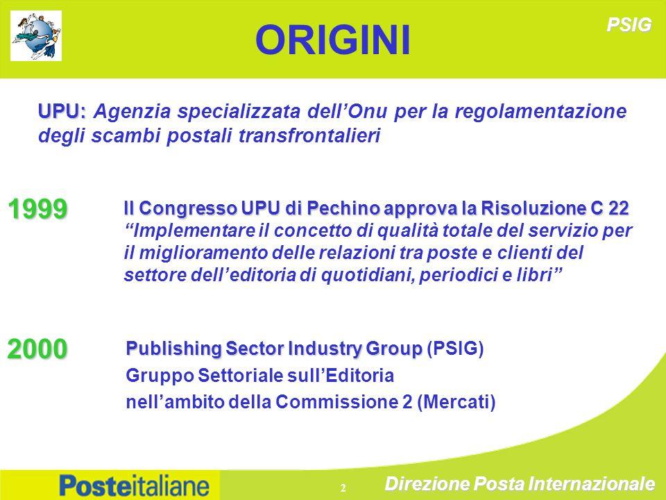 Direzione Posta Internazionale 2 ORIGINI UPU: UPU: Agenzia specializzata dellOnu per la regolamentazione degli scambi postali transfrontalieri 1999 Il