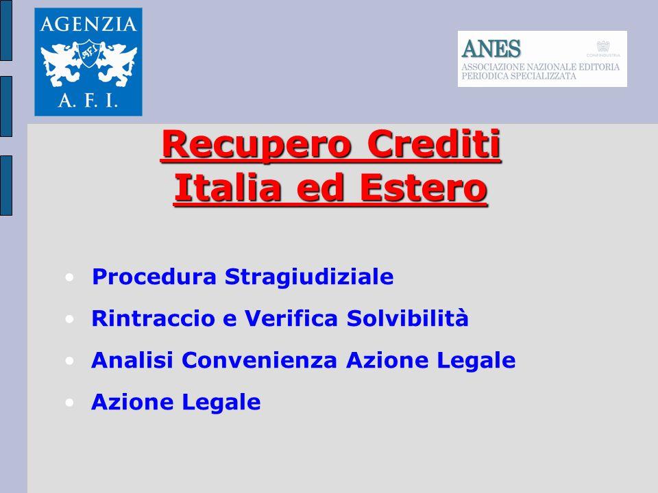 Recupero Crediti Italia ed Estero Procedura Stragiudiziale Rintraccio e Verifica Solvibilità Analisi Convenienza Azione Legale Azione Legale