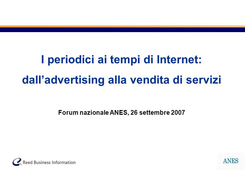 I periodici ai tempi di Internet: dalladvertising alla vendita di servizi Forum nazionale ANES, 26 settembre 2007
