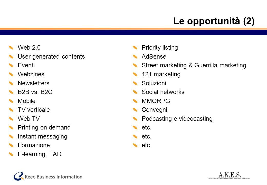 Le opportunità (2) Web 2.0 User generated contents Eventi Webzines Newsletters B2B vs.