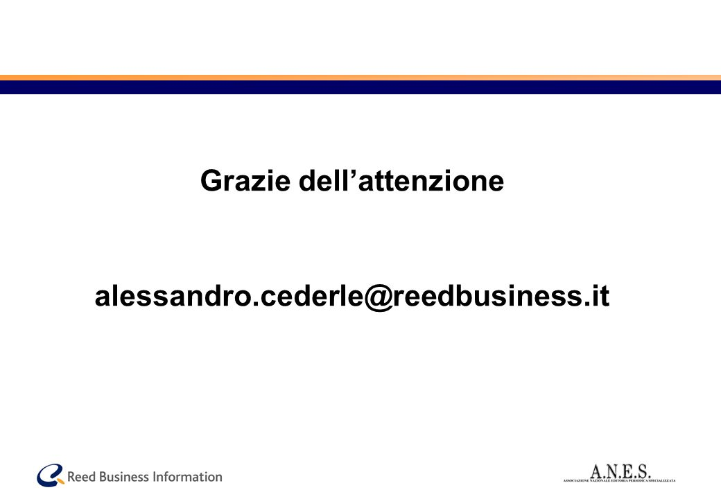 Le opportunità (2) Web 2.0 User generated contents Eventi Webzines Newsletters B2B vs. B2C Mobile TV verticale Web TV Printing on demand Instant messa