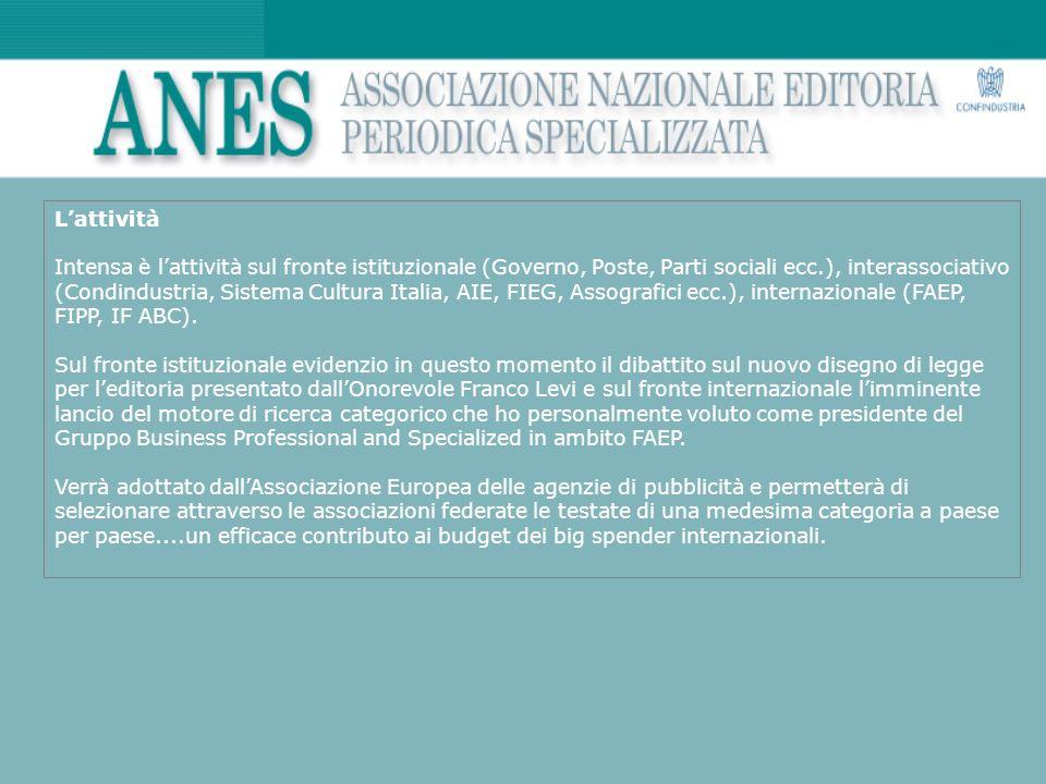 Lattività Intensa è lattività sul fronte istituzionale (Governo, Poste, Parti sociali ecc.), interassociativo (Condindustria, Sistema Cultura Italia,