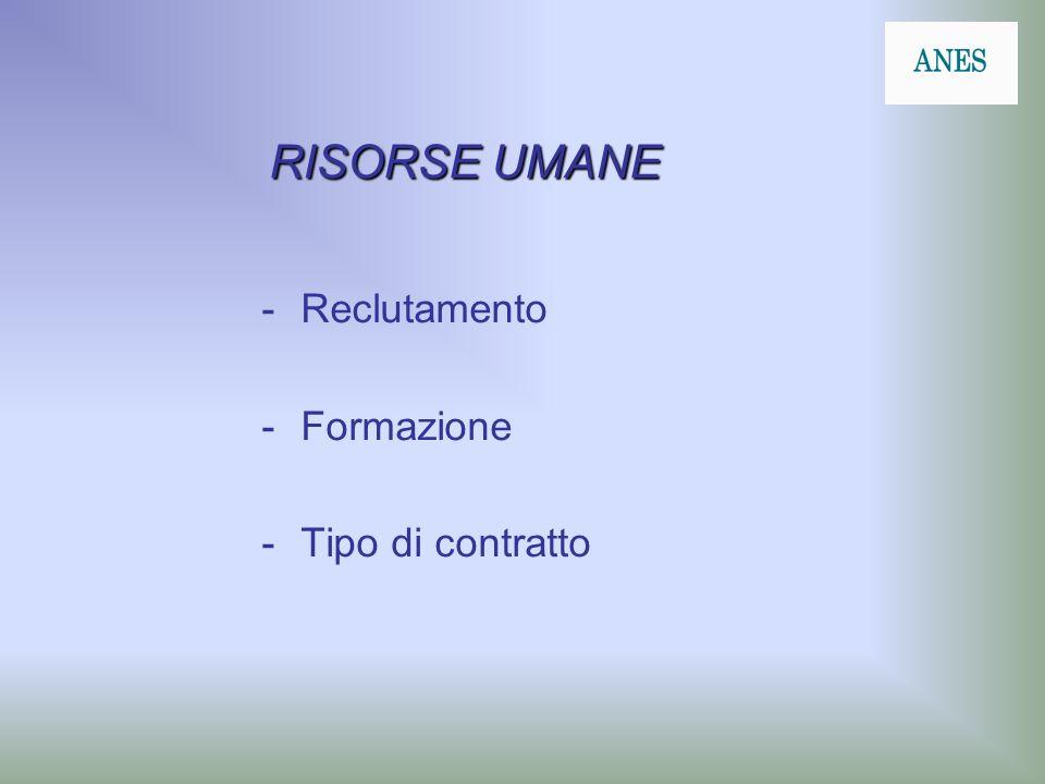RISORSE UMANE -Reclutamento -Formazione -Tipo di contratto