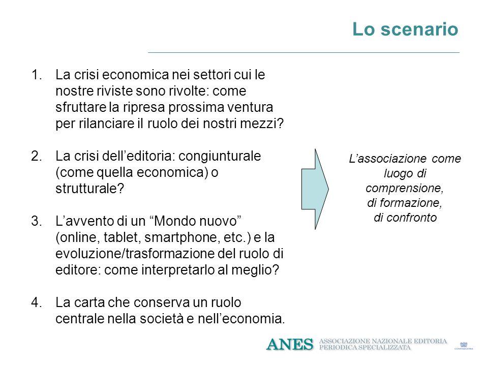 Lo scenario 1.La crisi economica nei settori cui le nostre riviste sono rivolte: come sfruttare la ripresa prossima ventura per rilanciare il ruolo dei nostri mezzi.