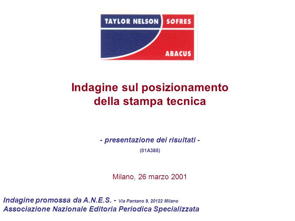 Indagine sul posizionamento della stampa tecnica - presentazione dei risultati - (01A385) Milano, 26 marzo 2001 Indagine promossa da A.N.E.S. - Via Pa