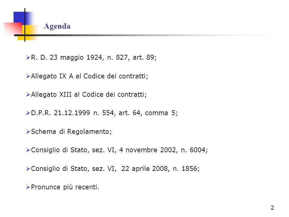 Agenda R. D. 23 maggio 1924, n. 827, art. 89; Allegato IX A al Codice dei contratti; Allegato XIII al Codice dei contratti; D.P.R. 21.12.1999 n. 554,