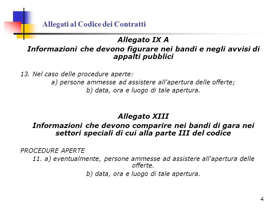 Allegati al Codice dei Contratti Allegato IX A Informazioni che devono figurare nei bandi e negli avvisi di appalti pubblici 13. Nel caso delle proced