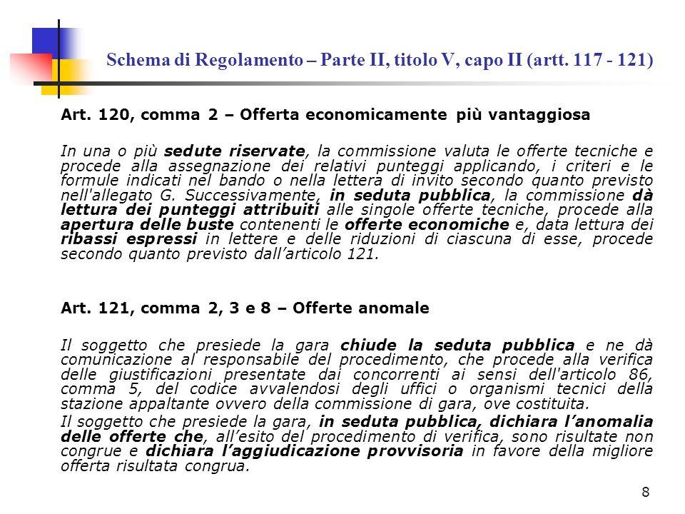 Schema di Regolamento – Parte II, titolo V, capo II (artt. 117 - 121) Art. 120, comma 2 – Offerta economicamente più vantaggiosa In una o più sedute r