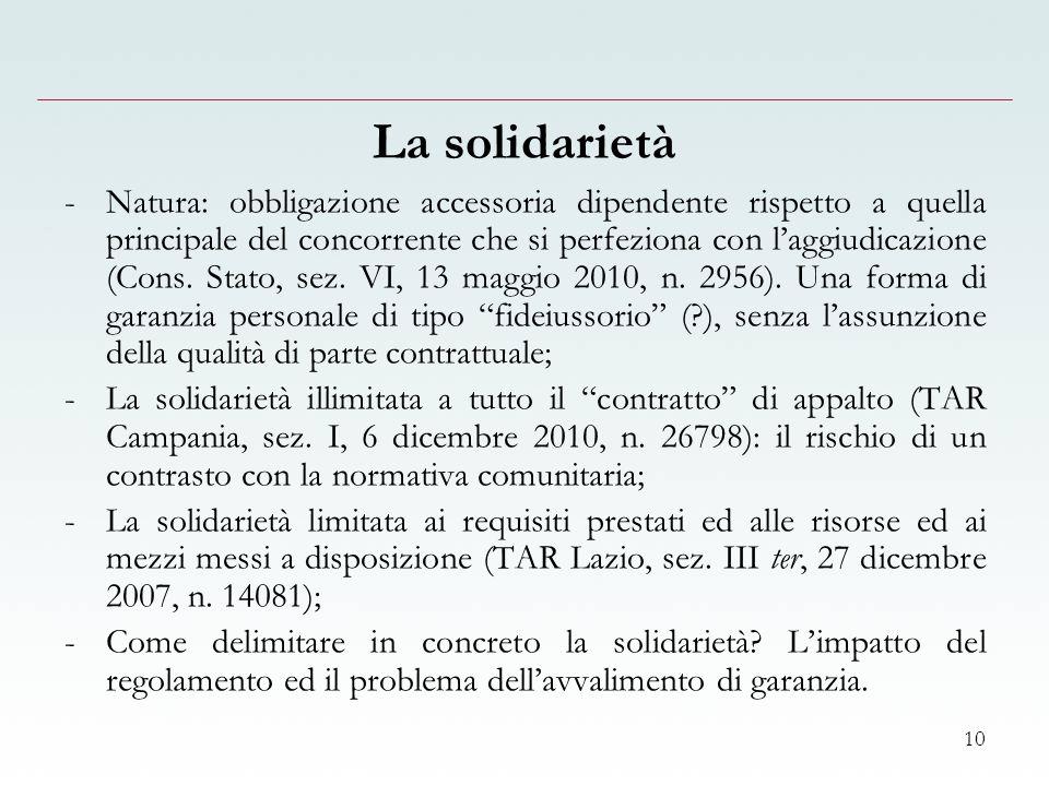 10 La solidarietà -Natura: obbligazione accessoria dipendente rispetto a quella principale del concorrente che si perfeziona con laggiudicazione (Cons.