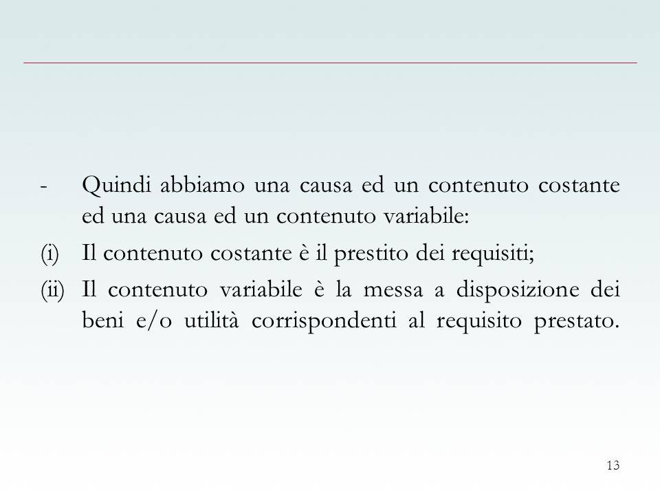 13 -Quindi abbiamo una causa ed un contenuto costante ed una causa ed un contenuto variabile: (i)Il contenuto costante è il prestito dei requisiti; (ii)Il contenuto variabile è la messa a disposizione dei beni e/o utilità corrispondenti al requisito prestato.