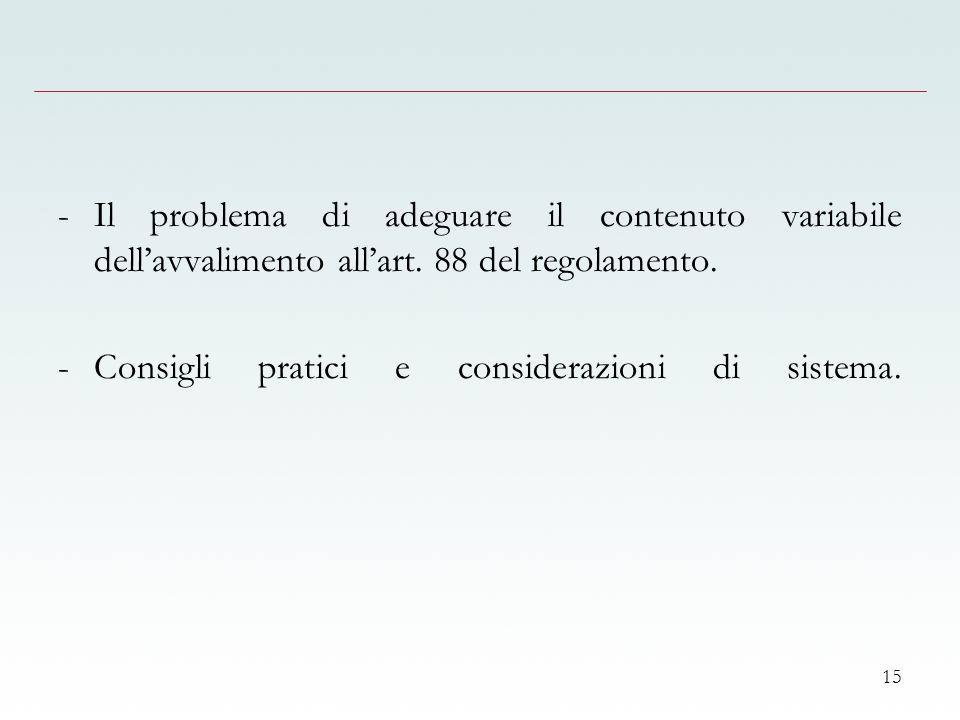 15 -Il problema di adeguare il contenuto variabile dellavvalimento allart.