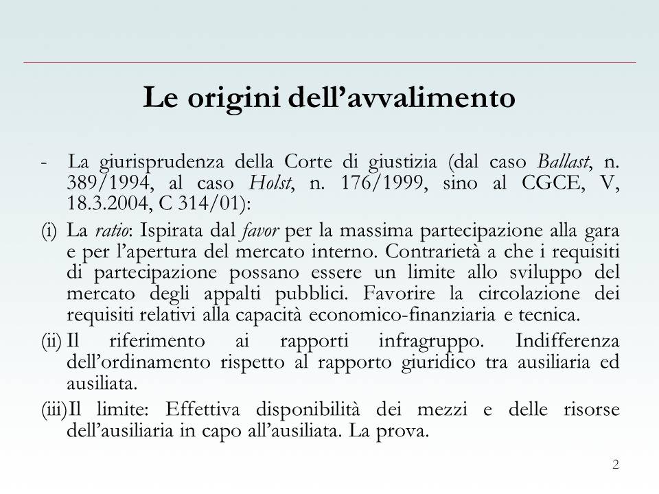 2 Le origini dellavvalimento - La giurisprudenza della Corte di giustizia (dal caso Ballast, n.