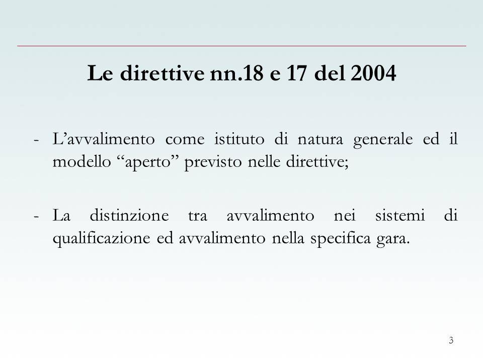 3 Le direttive nn.18 e 17 del 2004 -Lavvalimento come istituto di natura generale ed il modello aperto previsto nelle direttive; -La distinzione tra avvalimento nei sistemi di qualificazione ed avvalimento nella specifica gara.