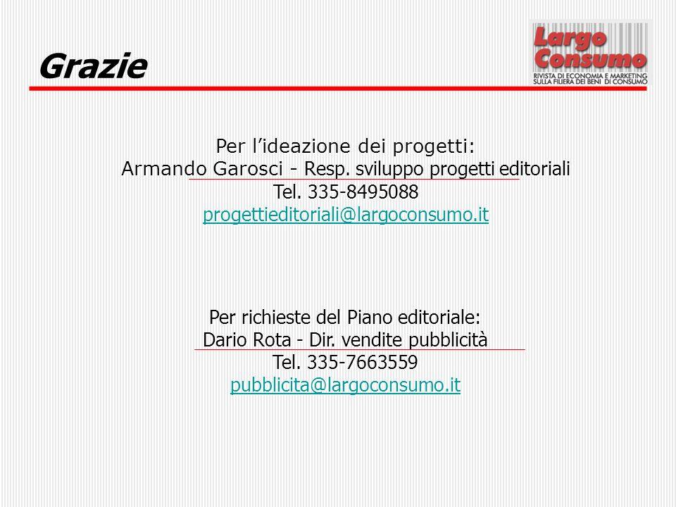 Grazie Per lideazione dei progetti: Armando Garosci - Resp. sviluppo progetti editoriali Tel. 335-8495088 progettieditoriali@largoconsumo.it Per richi