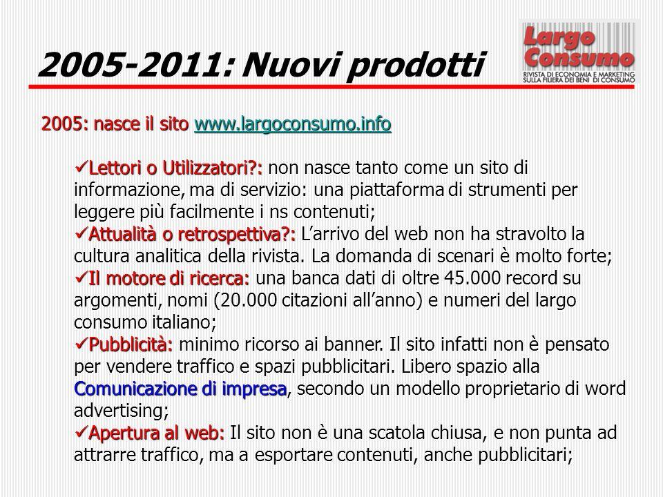 2005-2011: Nuovi prodotti 2005: nasce il sito www.largoconsumo.info www.largoconsumo.info Lettori o Utilizzatori?: non nasce tanto come un sito di inf