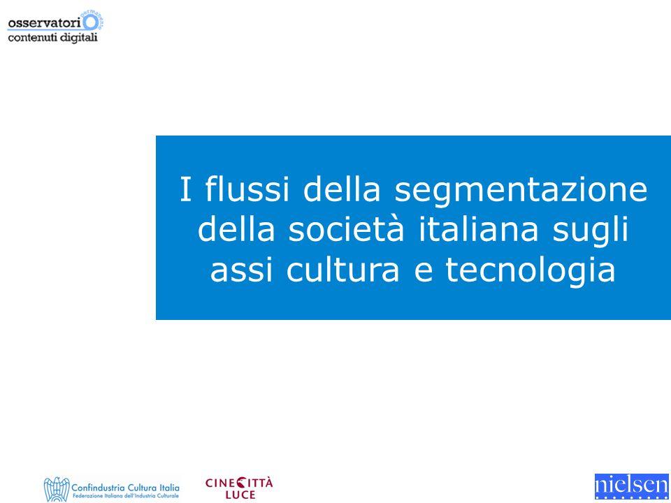 I flussi della segmentazione della società italiana sugli assi cultura e tecnologia