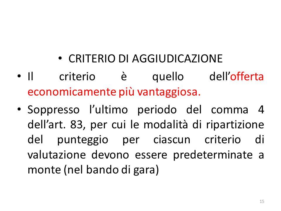 CRITERIO DI AGGIUDICAZIONE Il criterio è quello dellofferta economicamente più vantaggiosa.