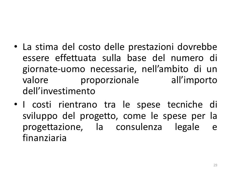 La stima del costo delle prestazioni dovrebbe essere effettuata sulla base del numero di giornate-uomo necessarie, nellambito di un valore proporzionale allimporto dellinvestimento I costi rientrano tra le spese tecniche di sviluppo del progetto, come le spese per la progettazione, la consulenza legale e finanziaria 29