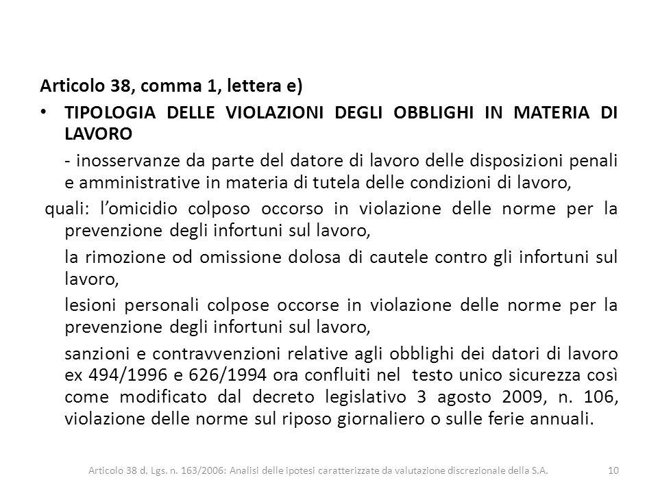 Articolo 38, comma 1, lettera e) TIPOLOGIA DELLE VIOLAZIONI DEGLI OBBLIGHI IN MATERIA DI LAVORO - inosservanze da parte del datore di lavoro delle dis