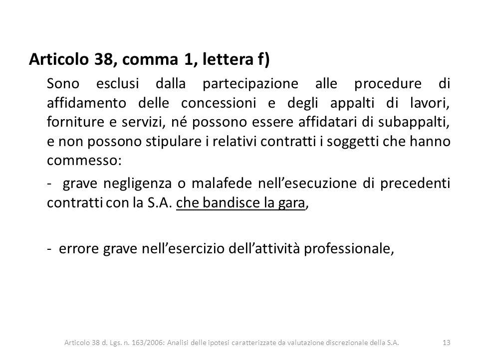 Articolo 38, comma 1, lettera f) Sono esclusi dalla partecipazione alle procedure di affidamento delle concessioni e degli appalti di lavori, fornitur