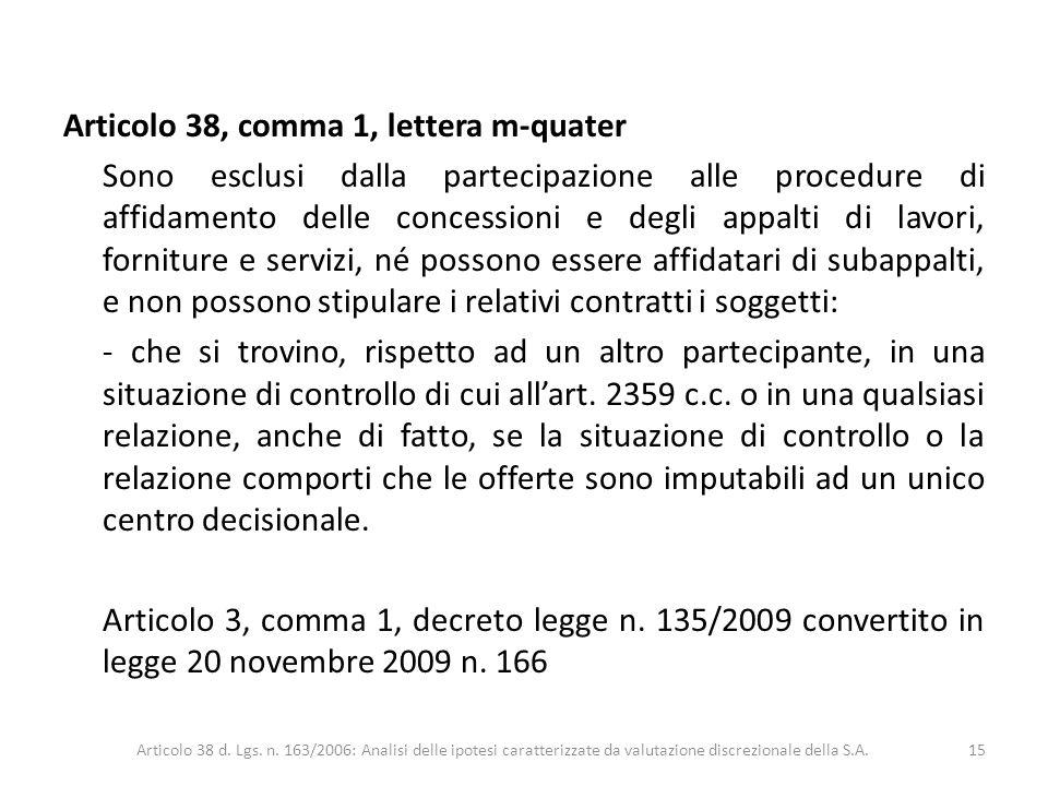 Articolo 38, comma 1, lettera m-quater Sono esclusi dalla partecipazione alle procedure di affidamento delle concessioni e degli appalti di lavori, fo