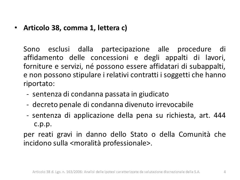 Articolo 38, comma 1, lettera c) Sono esclusi dalla partecipazione alle procedure di affidamento delle concessioni e degli appalti di lavori, fornitur