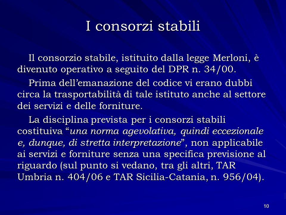 I consorzi stabili Il consorzio stabile, istituito dalla legge Merloni, è divenuto operativo a seguito del DPR n. 34/00. Prima dellemanazione del codi