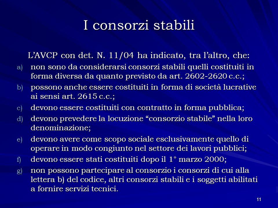I consorzi stabili LAVCP con det. N. 11/04 ha indicato, tra laltro, che: a) non sono da considerarsi consorzi stabili quelli costituiti in forma diver